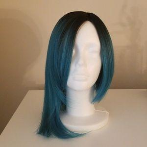 Neon blue ombre wig